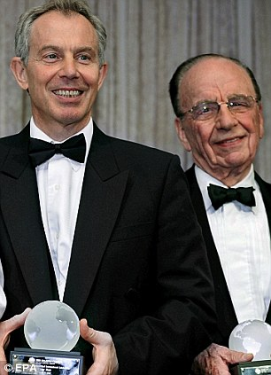 Close: Former Prime Minister Tony Blair and media magnate Rupert Murdoch in 2008