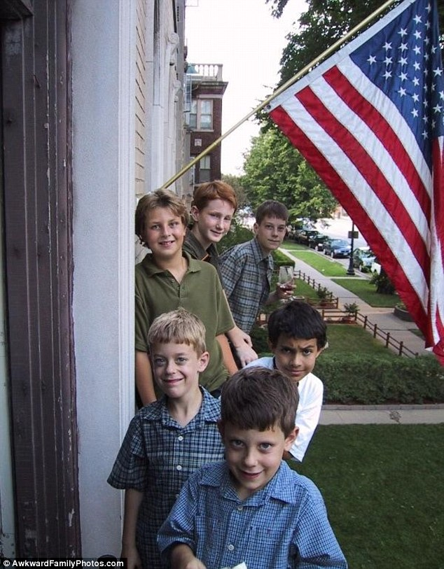 The Kids Are Alright: Posing under the great American Flag