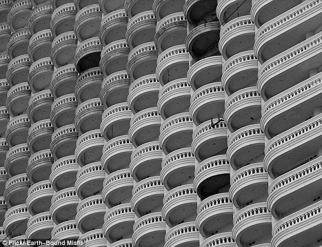 A close-up of Thailand's unfinished Sathorn Unique Building