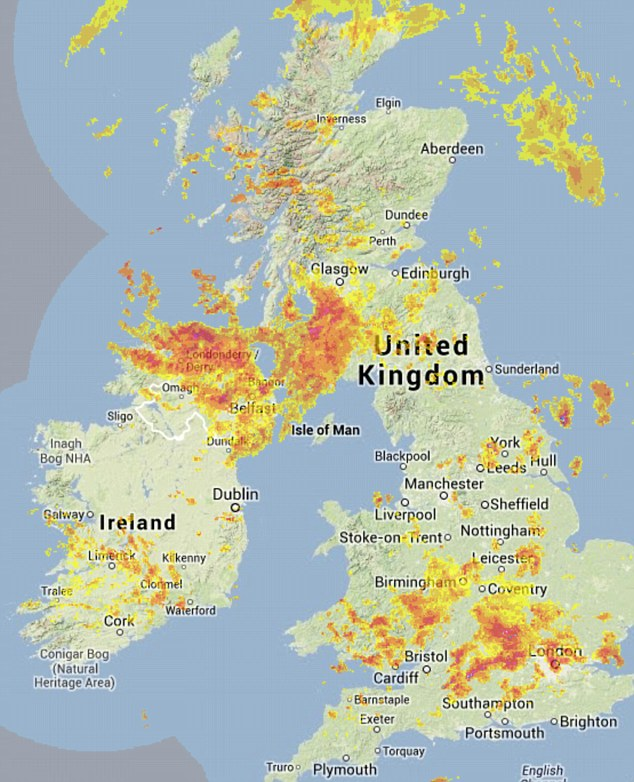 Downpours: This map shows where the heavy rain clouds have been gathering today