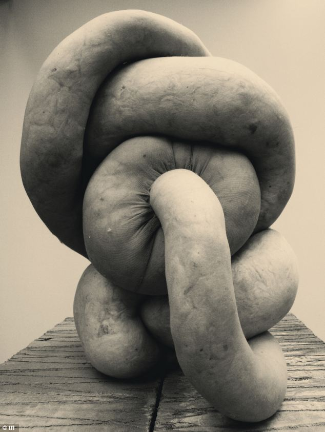 NUD: Artist Sarah Lucas said: 'I'm often messing about with tights. The first in my series of NUDs (nylon tights stuffed with fabric) was a screwed-up Bunny (a sexy sculpture of legs incorporating a chair)'