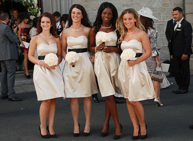 Dazzling: Bridesmaids line up for a photo at Shane Long's wedding