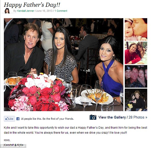 Surprise, surprise: The Jenners got in on the act with Kendall and Kylie posting a gallery of images of Bruce