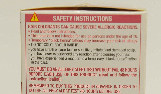 Dr Ian White has called for safety instructions to be printed on the front of packets of hair dye to ensure they are read