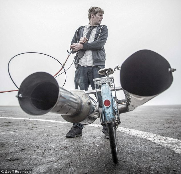Jet propelled: the view from the seat of the jet powered  bike shows how close the rider is to the exhausts and fuel canister