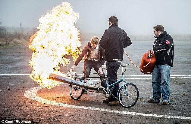 Worlds most dangerous bike: as this picture shows Mr Furze's new jet powered bike is anything but safe