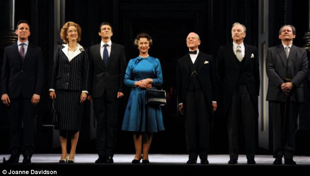 Star cast: From left, Rufus Wright as David Cameron,  Haydn Gwynne, Matt Plumb, Dame Helen Mirren, Edward Fox, Michael Elwyn and Geoffrey Beevers