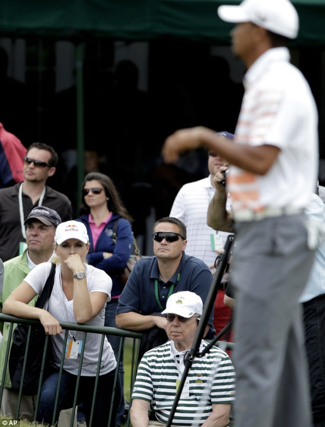 Watching closely: Vonn has been a staple at major championships since she started dating Woods three months ago