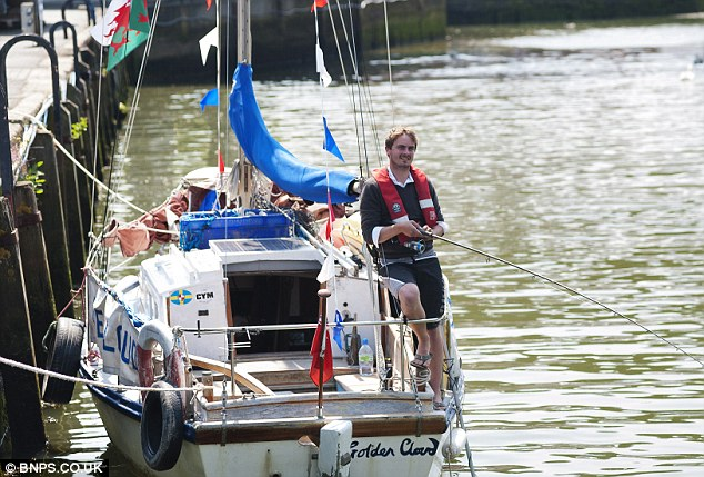 Water sport: Joe only had to pay £1 a day to moor a few miles from studying for his masters at Aberystwyth University