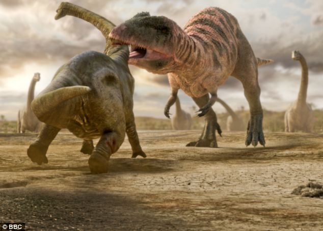 'Hothouse': An artist's impression of a young Paralititan being attacked by a Carcharodontosaurus during the Cretaceous period in North Africa
