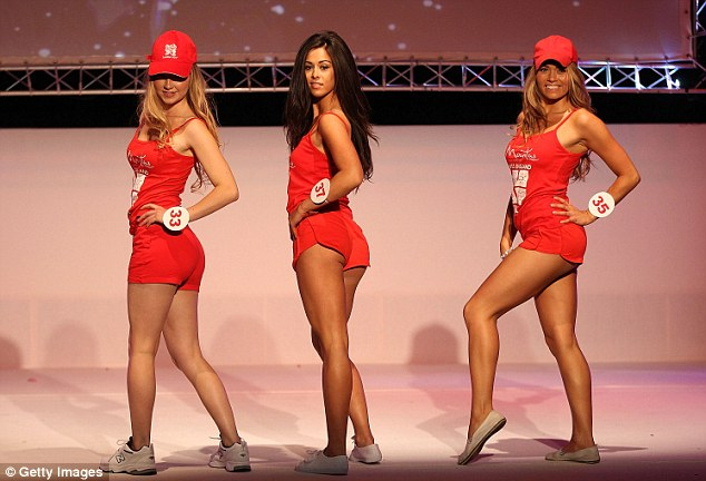 Performing swimmingly: Miss England 2013 contestants competed in the swimwear round at the final