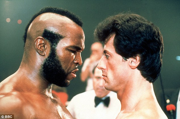 Thriller: In Rocky III, Balboa fought Mr T's character Clubber Lang (left)