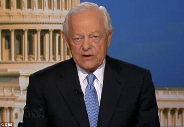 Disdain: Veteran news anchor Bob Schieffer was highly critical of NSA whistle-blower Edward Snowden's actions during Face The Nation on Sunday