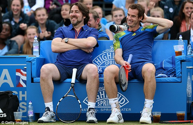 Light-hearted affair:  Jonathan Ross and Andy Murray enjoy a joke together