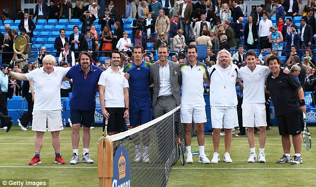Star studded:  Murray was joined on court by London Mayor Boris Johnson, Jonathan Ross, Jimmy Carr, Ross Hutchins, Tim Henman, Sir Richard Branson, Eddie Redmayne and Michael McIntyre