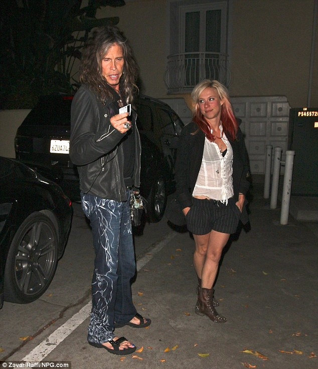 Crazy: Steven Tyler revealed his unsightly shrimp toes while heading inside the Sunset Marquis Hotel with a gal pal in West Hollywood Saturday