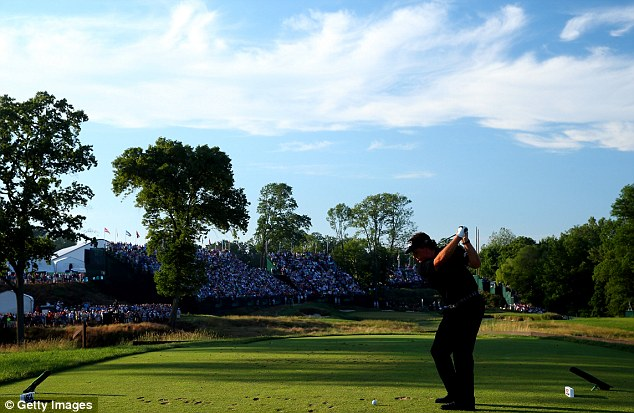 Closing stretch: Phil Mickelson hits his tee shot on the 17th hole during the final round