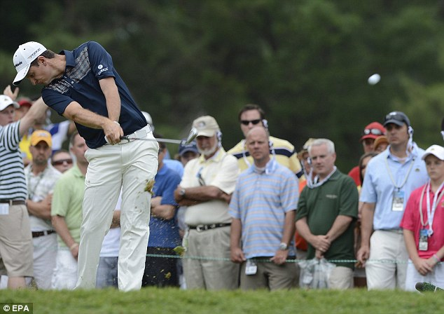 Strong day: Rose tees off at the ninth on a day he showed both consistency and skill