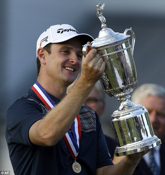 Joy: Justin Rose celebrates with the trophy after winning the U.S. Open at Merion Golf Club