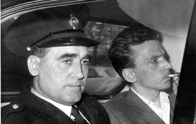 Ian Brady (right) arriving at court by taxi in 1966. He is Britain's longest-serving prisoner