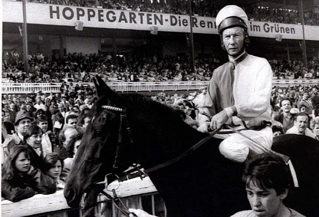 Lester Piggott prepares for his race at the Berlin gallop race track Hoppegarten to mark the beginning of the season