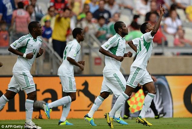 On target: Nnamdi Oduamadi (right) celebrates after scoring against Tahiti