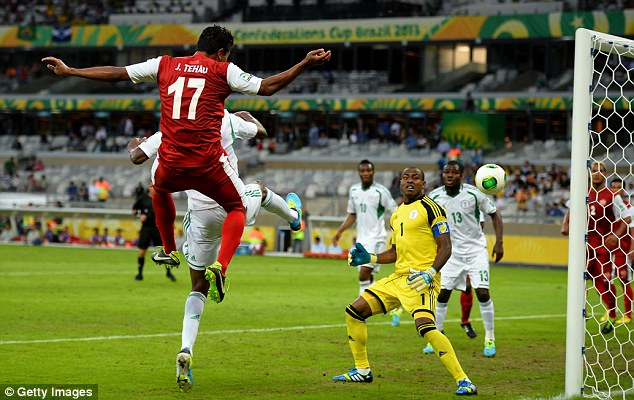 One for the underdog: Jonathan Tehau rose to nod home a goal for Tahiti