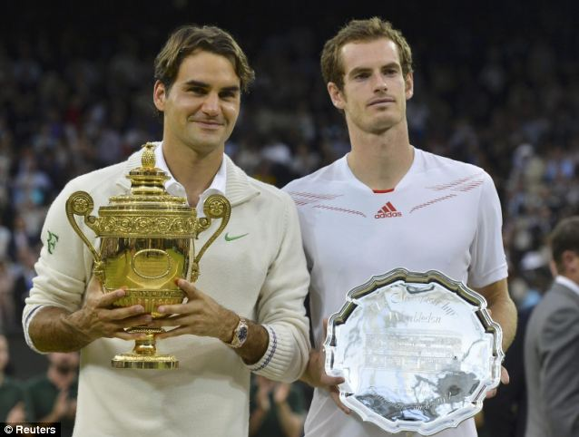 Runner up: Murray was disappointed to finish second in last year's Wimbledon Championship after he was beaten in the final by Roger Federer, left