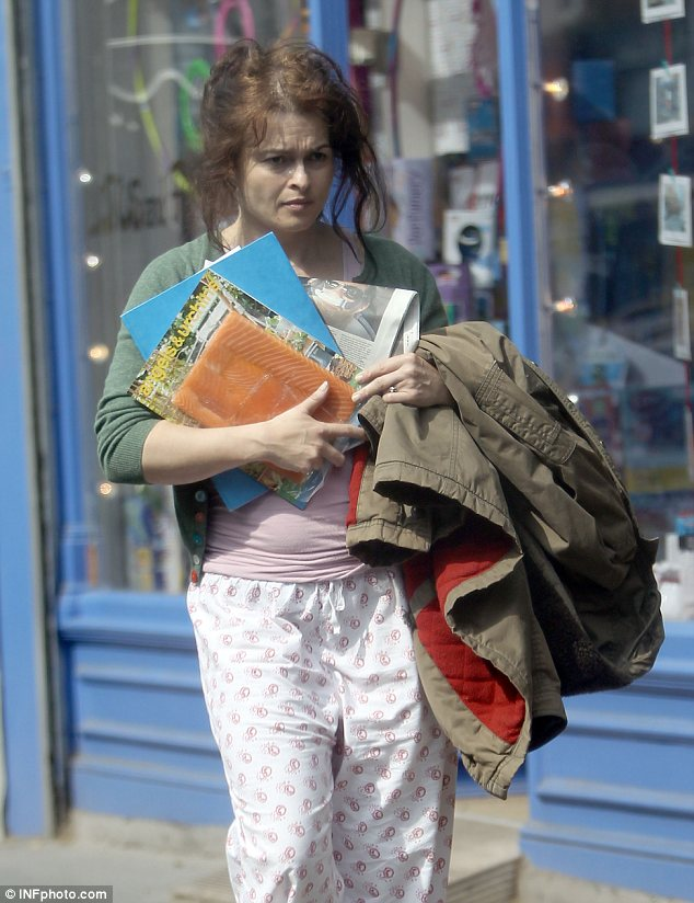That's what you call a dressed down day! Helena Bonham Carter wore a pair of pyjamas as she popped to the shops on Tuesday