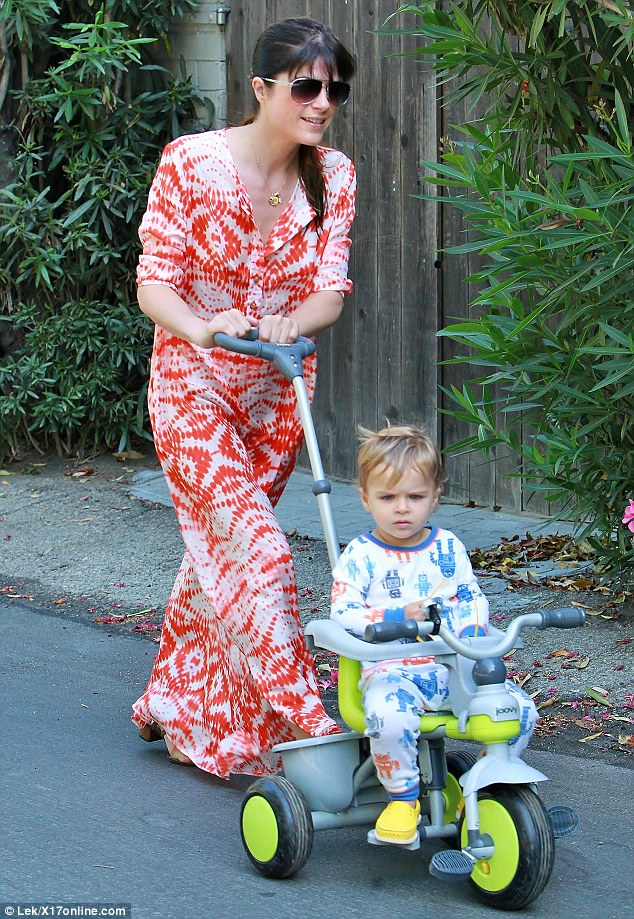 Putting on a brave face: Selma was spotted out with her son Arthur on Tuesday
