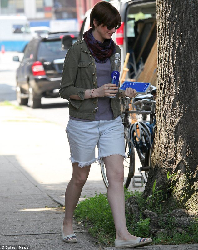 Tomboy: Anne Hathaway sported a boyish outfit as she arrived on set of Song One in New York on Monday