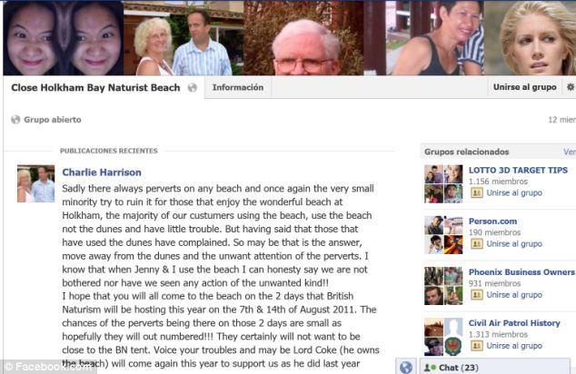 A Facebook group was set up three years ago trying to ban naturists from Holkham Beach