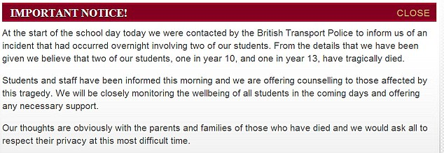 Important notice: Message published on the Hertswood Academy website where both the teenagers went to school
