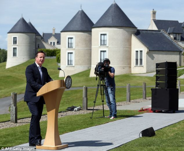 Talks: British Prime Minister David Cameron joked that the lough was cold but good preparation for chairing meetings