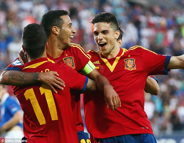 Hero: Thiago Alcantara (centre) celebrates his  third goal with Cristian Tello (front) and Alvaro Morata
