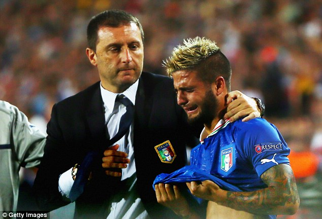 Floods of tears: Italian head coach Devis Mangia comforts Lorenzo Insigne after the final whistle