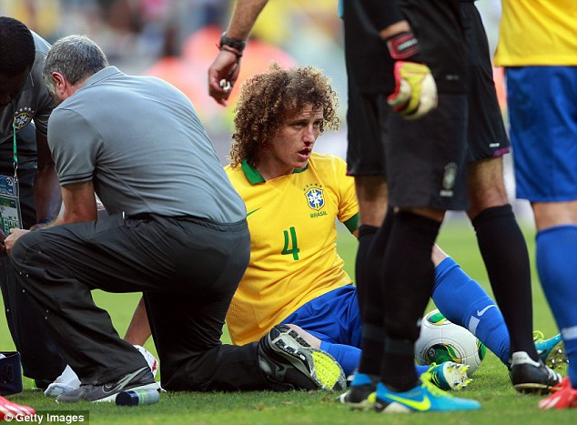 Bloody nose: Luiz was looking groggy went he got sat up after the challenge
