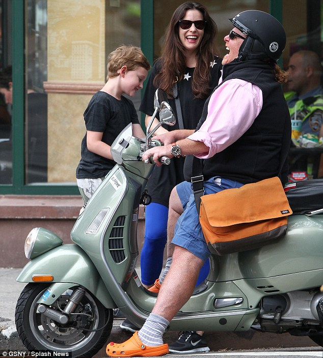 Lots of laughs: Liv Tyler and son Milo met chef Mario Batali in West Village, New York City on Tuesday