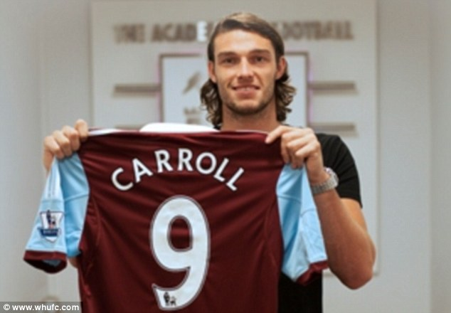 Done deal: Andy Carroll has completed his £15.5m move to West Ham from Premier League rivals Liverpool