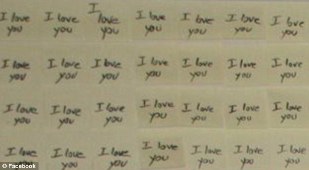 Time-consuming: Mr Beutler wrote 'I love you' on each paper square