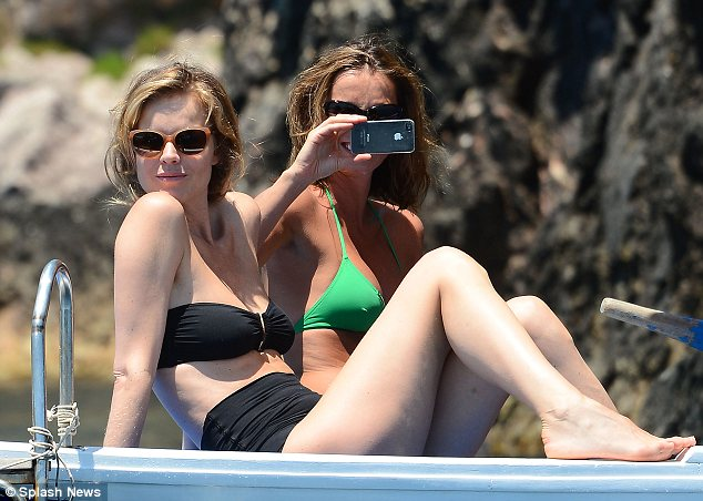 What a beautiful view: Eva saw reclining in the boat drinking in the view as her friend took a snap
