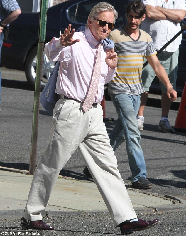 Making waves: Michael Douglas looked smart on the set of And So It Goes in Fairfeld, Connecticut on Wednesday