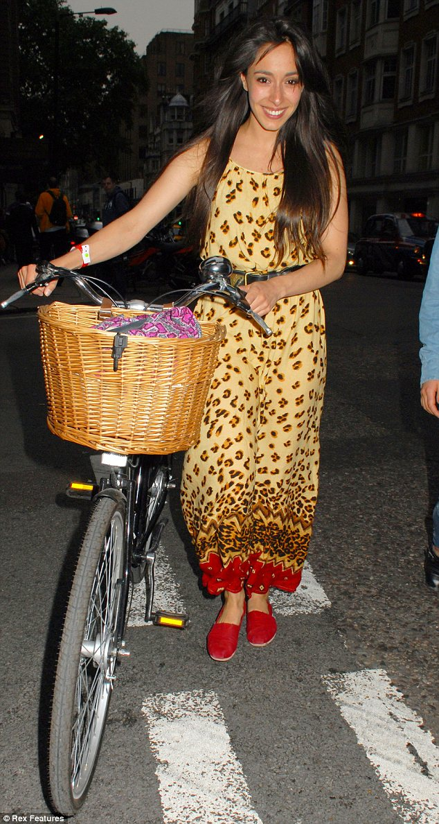Keeping fit: Oona Chaplin cycles to the Yahoo! Wireless pre-Festival party at The Mayfair Hotel