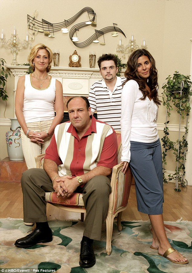 Married to the mob: In character with his Sopranos co-stars Edie Falco, Robert Iler and Jamie-Lynn Sigler