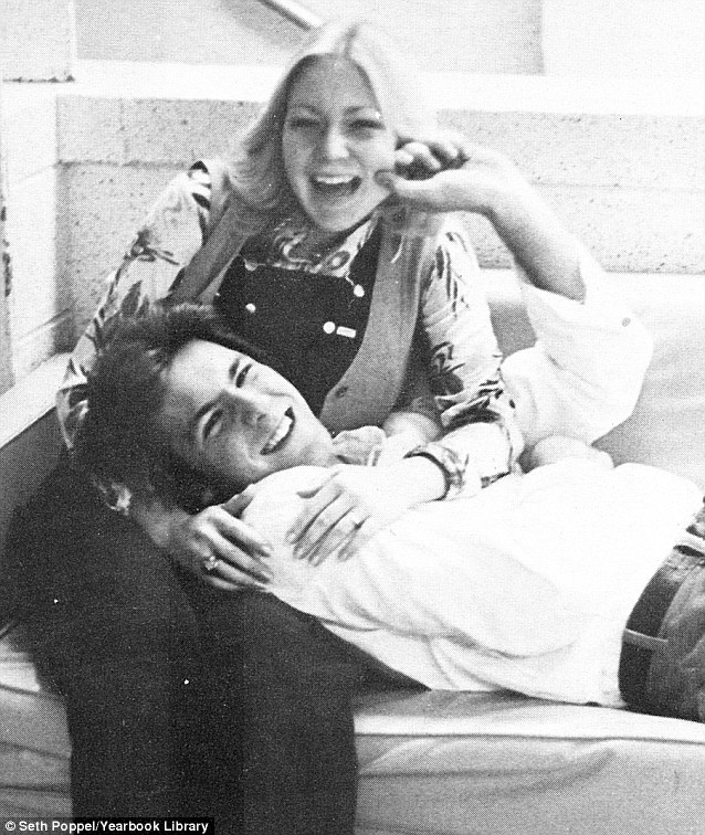 In his school days: Gandolfini poses with a female friend in a picture from his High School year book in 1979; he was voted 'class flirt'