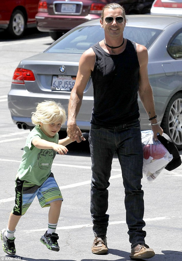Proud dad: Gavin Rosdale couldn't stop smiling when he picked up his son Zuma from school in Studio City on Wednesday