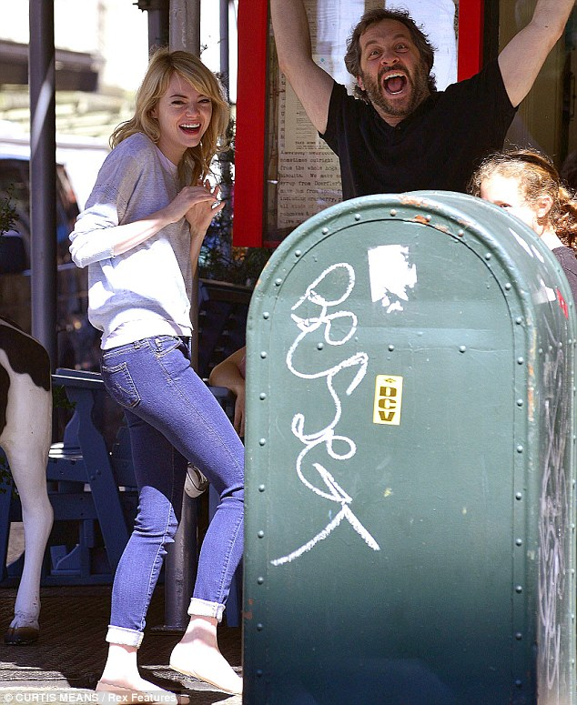 Fooling around: Emma Stone and Judd Apatow were seen out and about in New York City on Wednesday