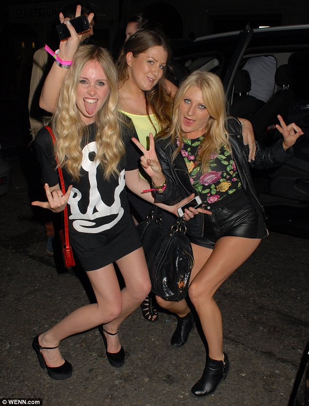 Rocking out: Diana Vickers and her friends looked ready to party upon their arrival