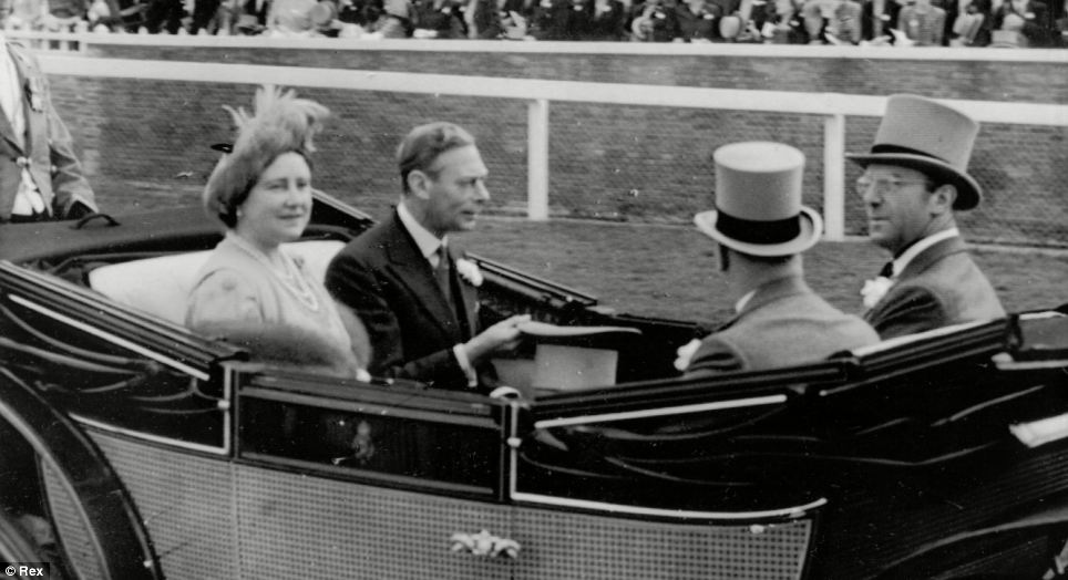 King George and the Queen Mother arrive in the procession at Royal Ascot in 1949