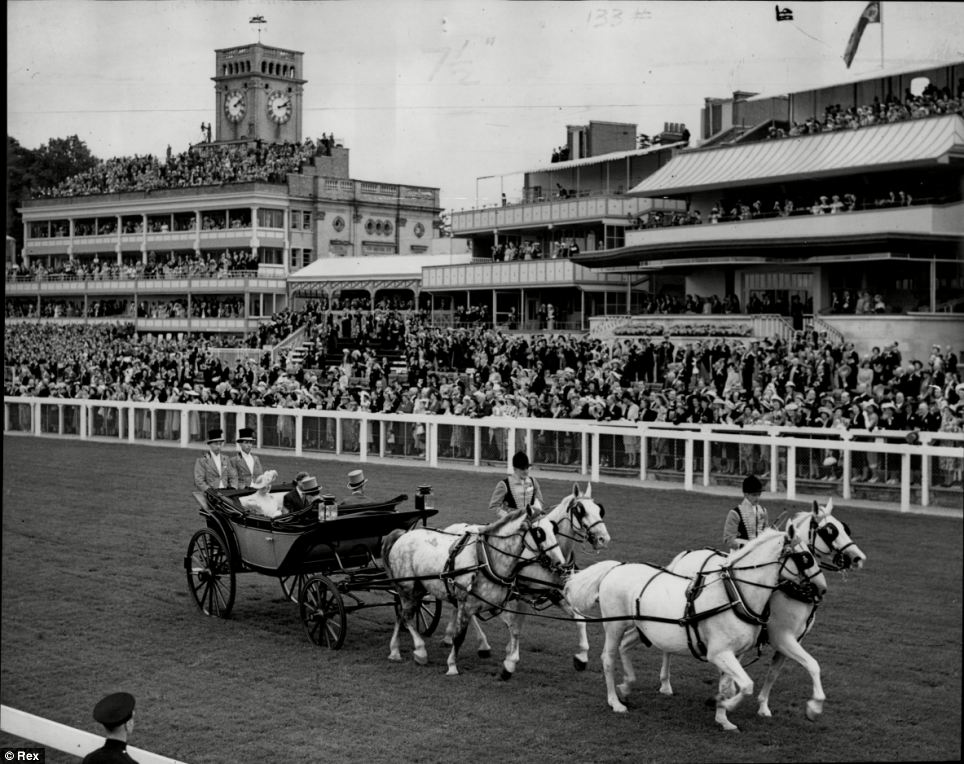 The arrival of King George VI and the Queen Mother at Royal Ascot in 1948